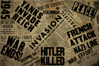 collage of newspaper war headlines